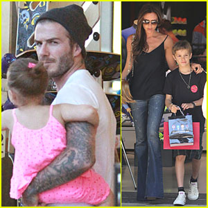 Victoria & David Beckham: Separate Shopping Trips with the Kids!