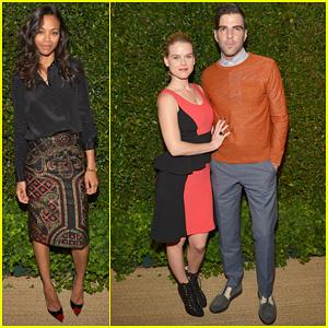 Zoe Saldana & Zachary Quinto: 'Vogue' MAC Cosmetics Dinner!