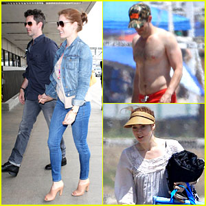Amy Adams & Darren Le Gallo Jet to NYC After Beach Trip