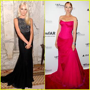 Candice Swanepoel & Uma Thurman - amfAR Inspiration Gala 2013
