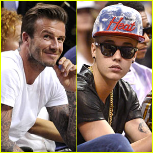 David Beckham & Justin Bieber: Courtside for Heat Basketball!