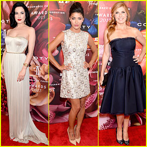 Dita Von Teese & Jessica Szohr - Fragrance Foundation Awards 2013 Red Carpet