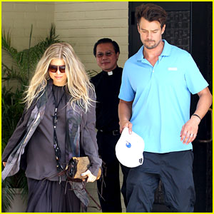 Fergie & Josh Duhamel Say Goodbye to Priest at Sunday Church Service