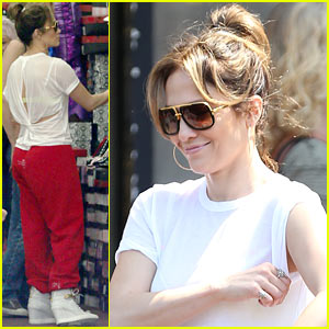 Jennifer Lopez Wears Cut Out Shirt While Shopping