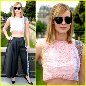 Jennifer Lawrence Bares Skin at Christian Dior Fashion Show