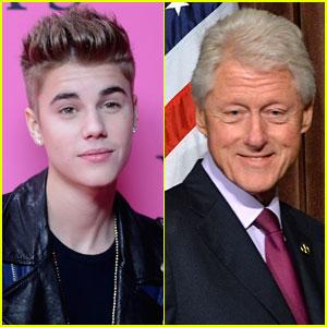 Justin Bieber & Bill Clinton Talk Following Mop Bucket Urinating Incident
