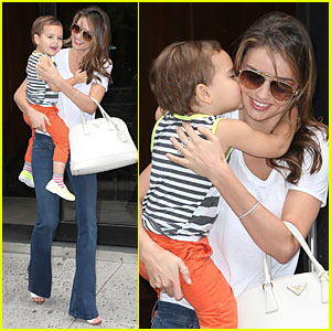 Miranda Kerr Receives Kiss on the Cheek from Flynn!