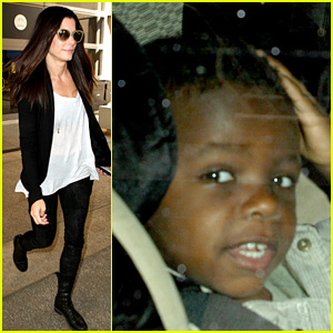 Sandra Bullock & Louis Land at LAX After Australia Trip