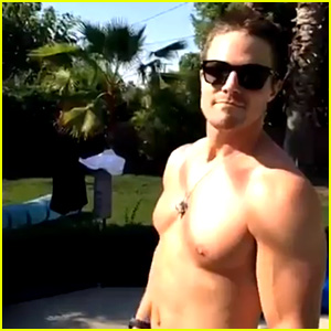 Stephen Amell Goes Shirtless for Fourth of July Fun!