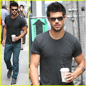 Taylor Lautner: Coffee Break on 'Tracers' Set!