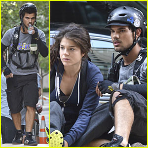 Taylor Lautner & Marie Avgeropoulos: 'Tracers' Scenes on Wood!