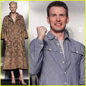 Tilda Swinton & Chris Evans: 'Snowpiercer' Seoul Press Conference!