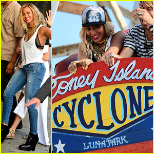 Beyonce: Coney Island Cyclone Rider for 'XO' Music Video Shoot!