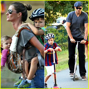 Gisele Bundchen & Tom Brady Visit Boston Park with the Kids!