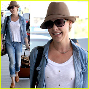 Katherine Heigl Wheels Her Luggage at LAX