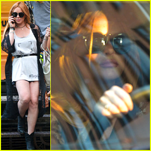 Lindsay Lohan Gets Behind the Wheel in New York City