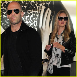 Rosie Huntington-Whiteley & Jason Statham Land in London!