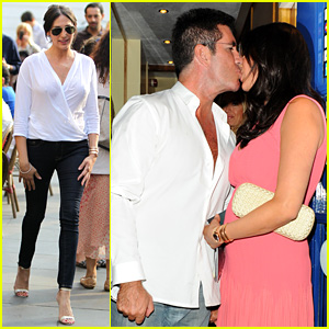 Simon Cowell Kisses Pregnant Lauren Silverman After Dinner