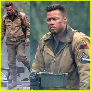Brad Pitt Rocks Slicked Back Hair & Army Outfit on 'Fury' Set