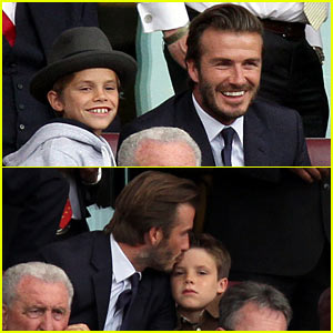 David Beckham Kisses Cruz at Barclays League Soccer Match