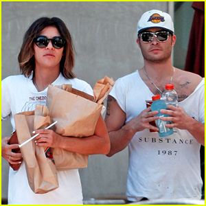 Ed Westwick & Jessica Szohr Grab Lunch at Jersey Mike's