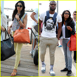 Freida Pinto & Gabrielle Union Board Water Taxi to Depart Venice