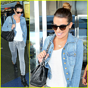 Lea Michele Lands in New York City Wearing 'Cory' Necklace