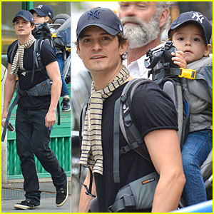 Orlando Bloom & Flynn: Matching New York Yankees Duo!
