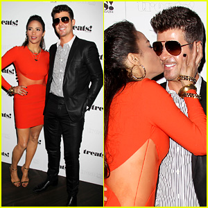 Paula Patton Kisses Robin Thicke at His Album Release Party