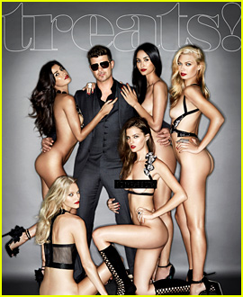 Robin Thicke Covers 'Treats' Magazine with Naked Women!