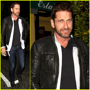 Gerard Butler Brings Hells Angels Book to Dinner