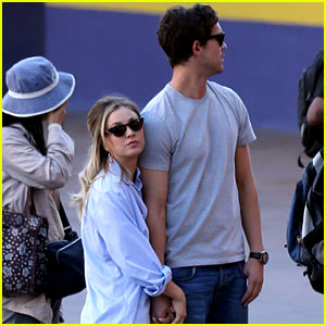 Kaley Cuoco & Ryan Sweeting Hold Hands on Film Set!