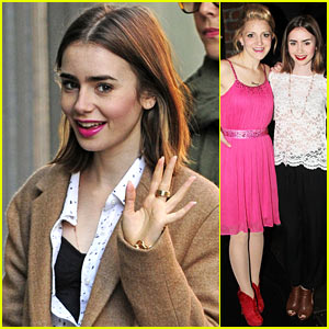 Lily Collins Sees 'Kinky Boots' on Broadway After Zac Efron Date