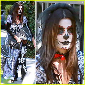 Sandra Bullock Goes Spooky for Halloween Party with Louis!