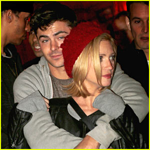 Zac Efron Hugs Brittany Snow From Behind at Haunted Ha