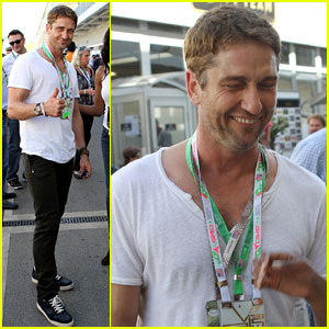 Gerard Butler: Fan Friendly at the F1 Championships!