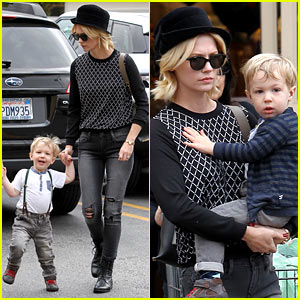 January Jones Goes Food Shopping with Joyful Son Xander!