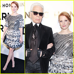 Jessica Chastain Honors Karl Lagerfeld!