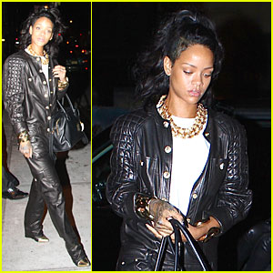 Rihanna Rocks Leather Jumpsuit for Nobu Dinner!