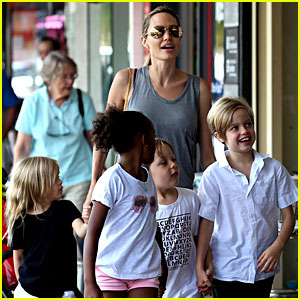 Angelina Jolie Goes Book Shopping with the Kids in