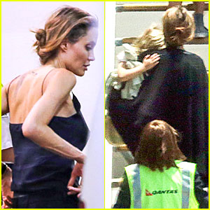 Angelina Jolie: Sydney Holiday Departure with the Kids!