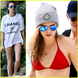 Cara Delevingne Shows Off New Chest Tattoo in Barbados