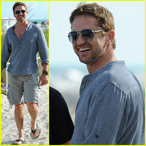 Gerard Butler Enjoys Beach Time During Art Basel Miami!