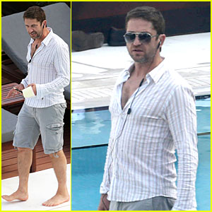 Gerard Butler Relaxes at Miami Hotel Pool with Friends!