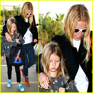 Gwyneth Paltrow Rushes Into LAX Airport with Daughter Apple
