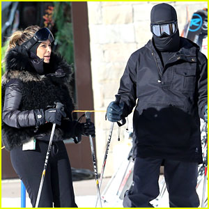 Kanye West Wears Full Face Mask While Skiing with Kim Kardashian
