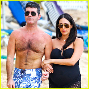 Simon Cowell: Shirtless Beach Stroll with Pregnant Girlfriend Lauren Silverman!