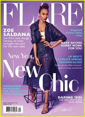 Zoe Saldana: Sheer Purple for 'Flare' Magazine January 2014! (Exclusive)