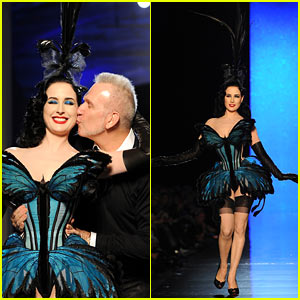 Dita Von Teese Hits the Runway for Jean Paul Gaultier Show!