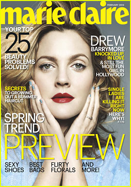 Drew Barrymore Covers 'Marie Claire' February 2014